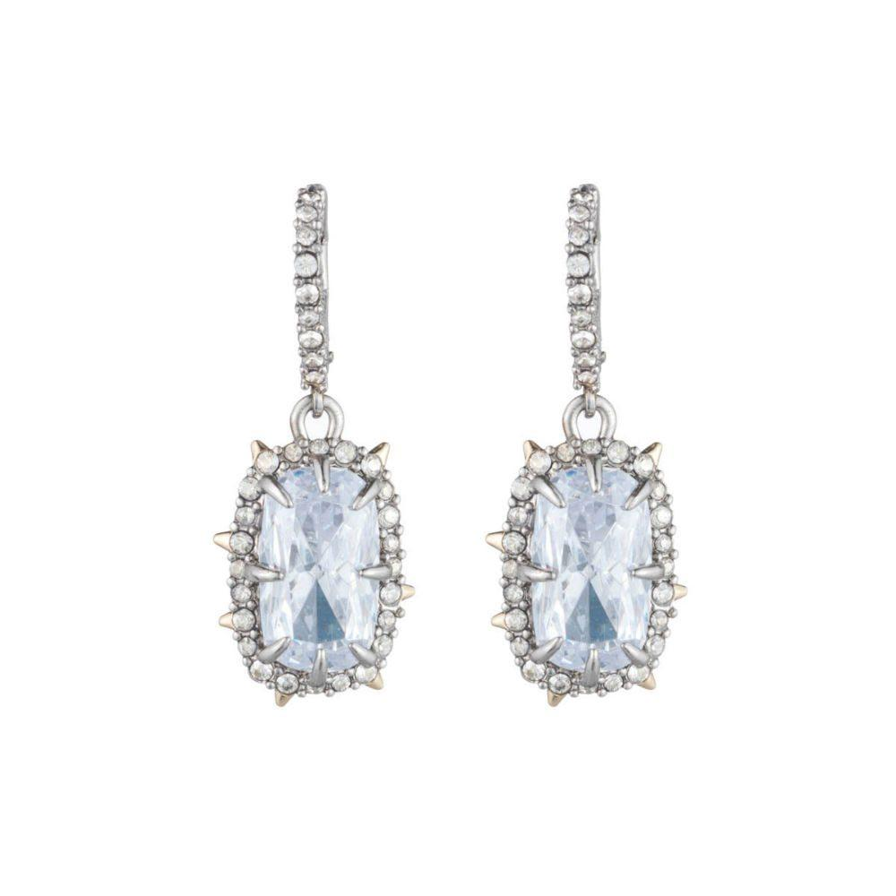 Alexis Bittar Silver Crystal Framed Cushion Earrings | Silver | Bridal Edit