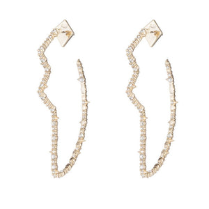 Alexis Bittar Crystal Encrusted Abstract Tulip Hoop Earrings