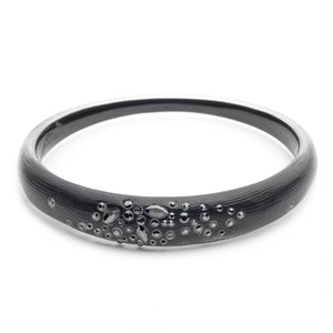 Alexis Bittar Black Noir Crystal Encrusted Skinny Tapered Bangle