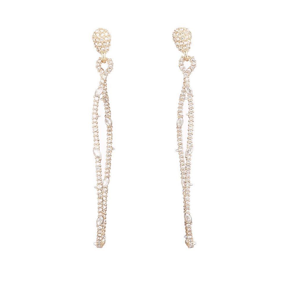 Alexis Bittar Twisted Linear Pave Post Earring | White Crystals | Gold | Long Earrings