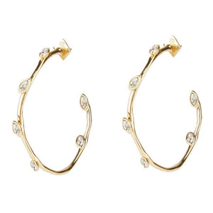 Alexis Bittar Navette Crystal Hoop Earring | White Crystals | Gold
