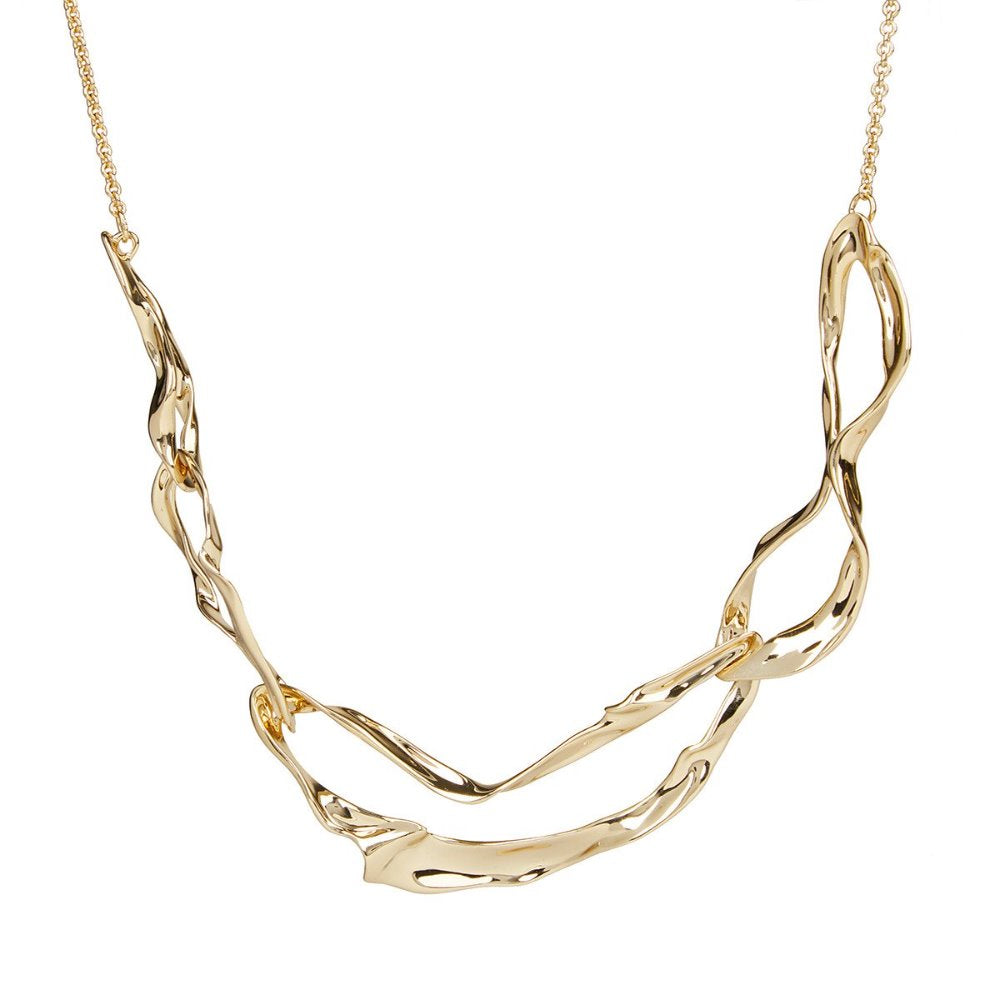 ALEXIS BITTAR CRUMPLED METAL LINK NECKLACE