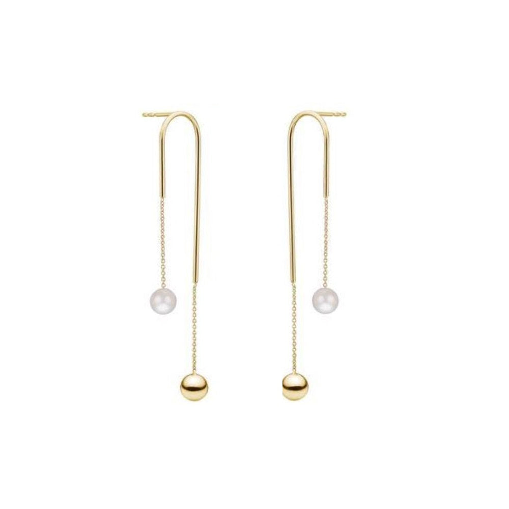 Charlotte Lebeck Agnes Earrings | 925 Sterling Silver | 18K Gold Plate | Freshwater Pearl | Long Earrings