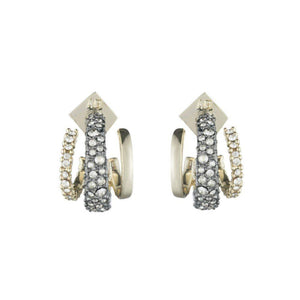 Alexis Bittar Crsytal Orbit Hoop Earrings | Gold & Silver | Crystals