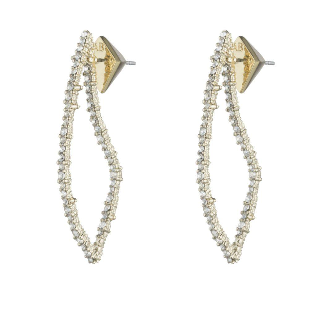 Alexis Bittar Crystal Encrusted Open Angular Earrings | Bridal Edit | Crystals | Gold