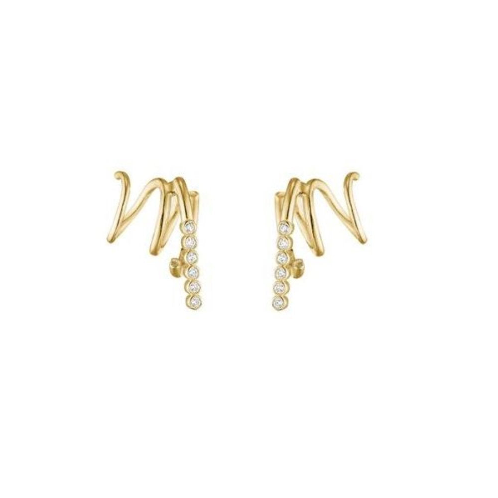 Charlotte Lebeck Alina Twirl Single Earring | 925 Sterling Silver | 18K Yellow Gold Plate | Cubic Zirconia