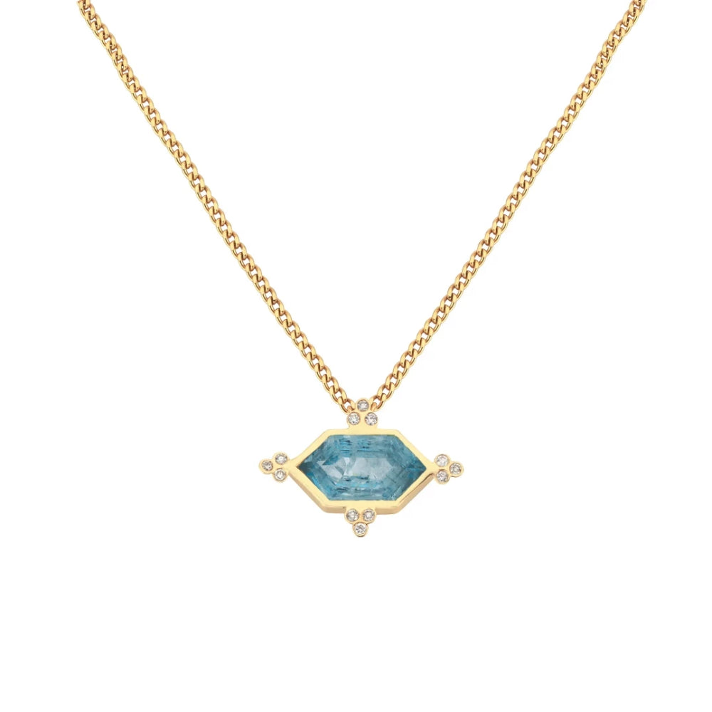 Zoe and Morgan Araceli Aquamarine 9k Gold Necklace
