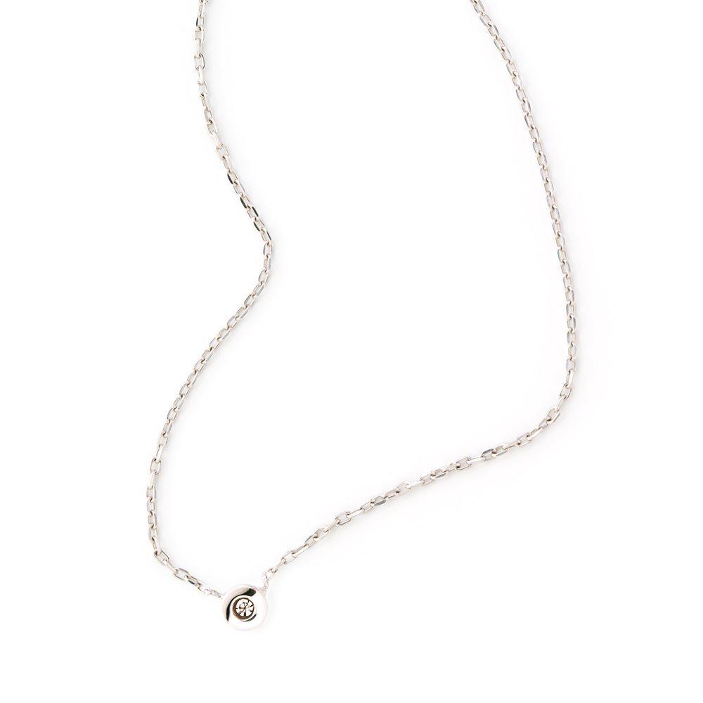 LOULERIE WHITE GOLD DIAMOND DROPLET NECKLACE