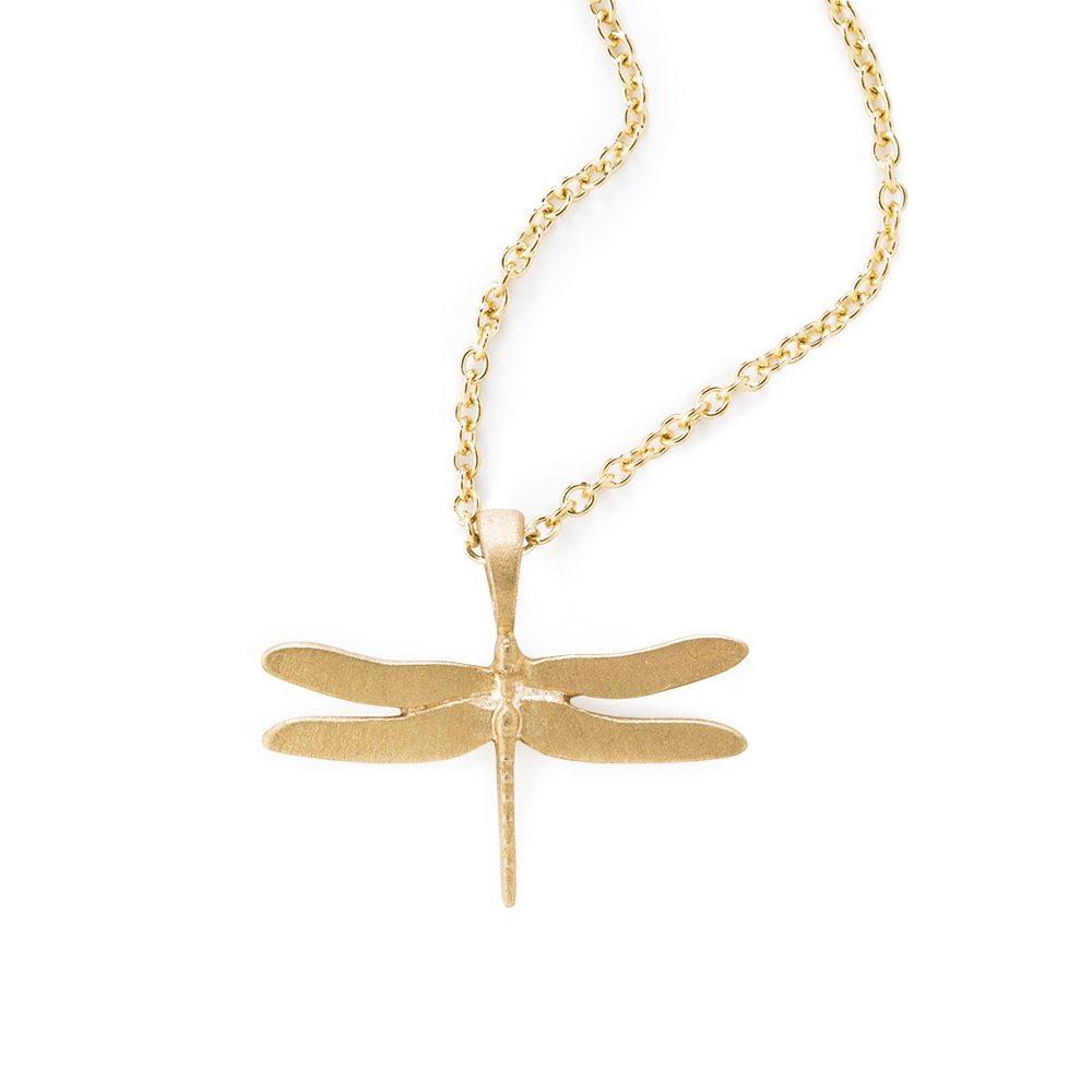 Loulerie 9K Yellow Gold Dragonfly Necklace