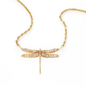 Loulerie Diamond Dragonfly Necklace 9k Gold