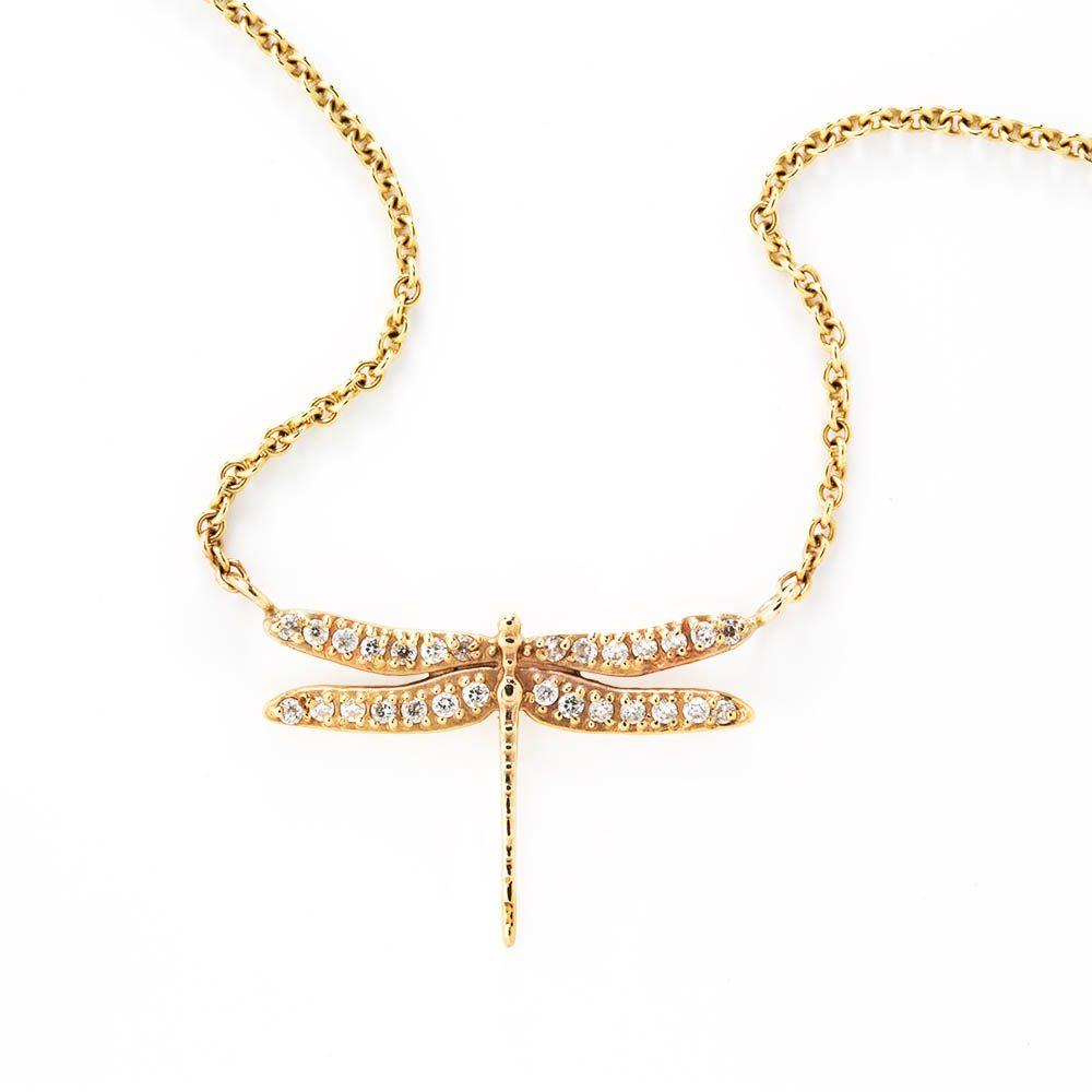 Loulerie Diamond Dragonfly Necklace | 9k Gold | White Diamond