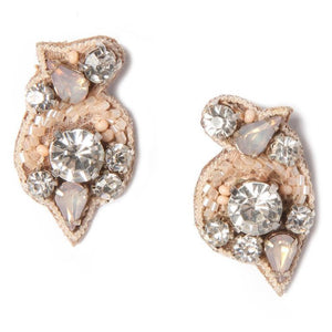 Mignonne Gavigan Gaby Earrings | Leather | Hand Beaded | Pink