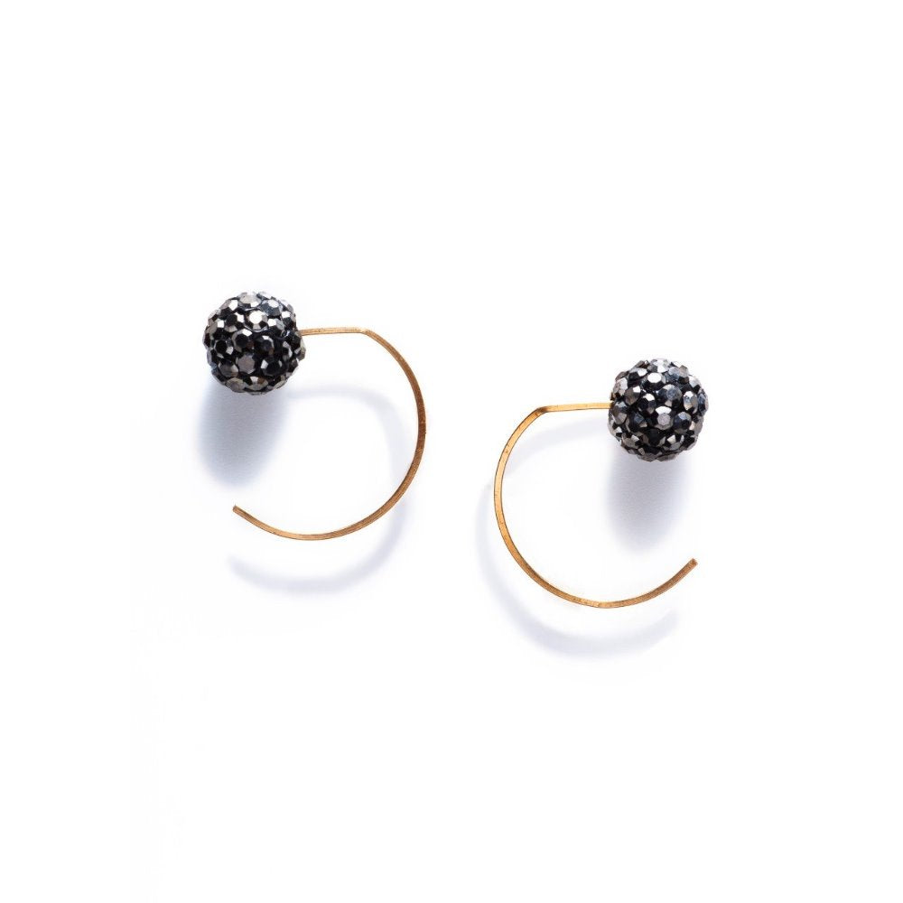 By Boe Crystal Pewter Earrings | 14K Gold Plate