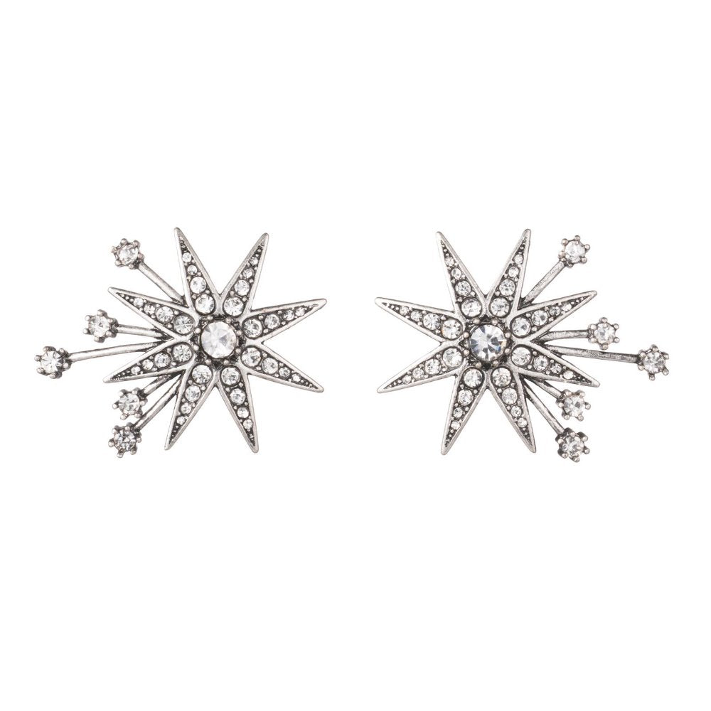 Lulu Frost Silver Tone Nova Stud Star Earrings | Crystals | Bridal Edit