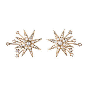 Lulu Frost Gold Nova Stud Earrings | Gold Tone | Pearls | Bridal Edit