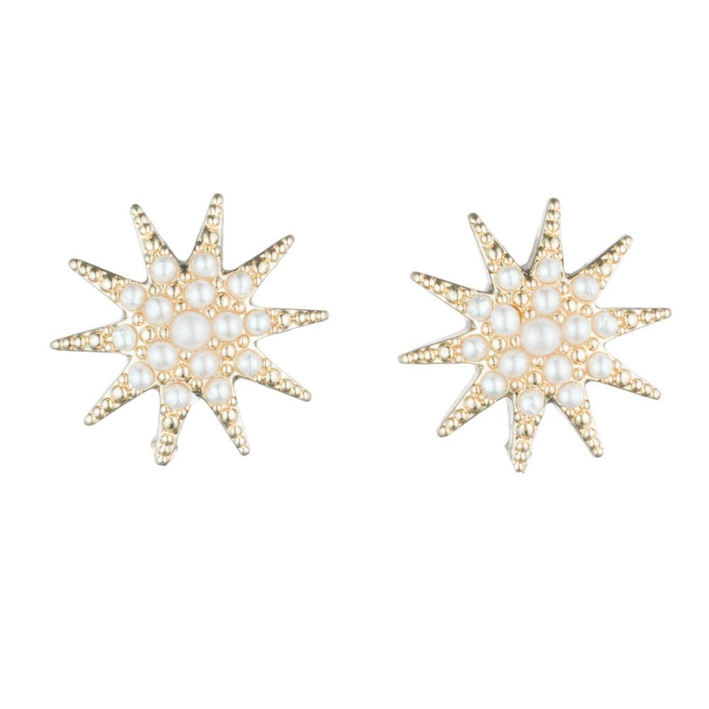 Lulu Frost Pearl Electra Stud Earrings Gold Tone
