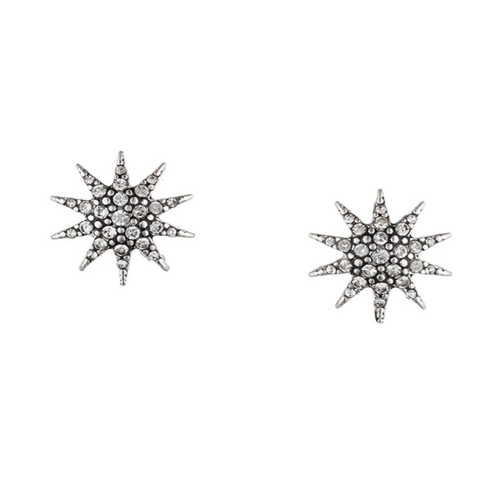 Lulu Frost Electra Stud Earrings Antique Silver | Bridal Edit | Crystals