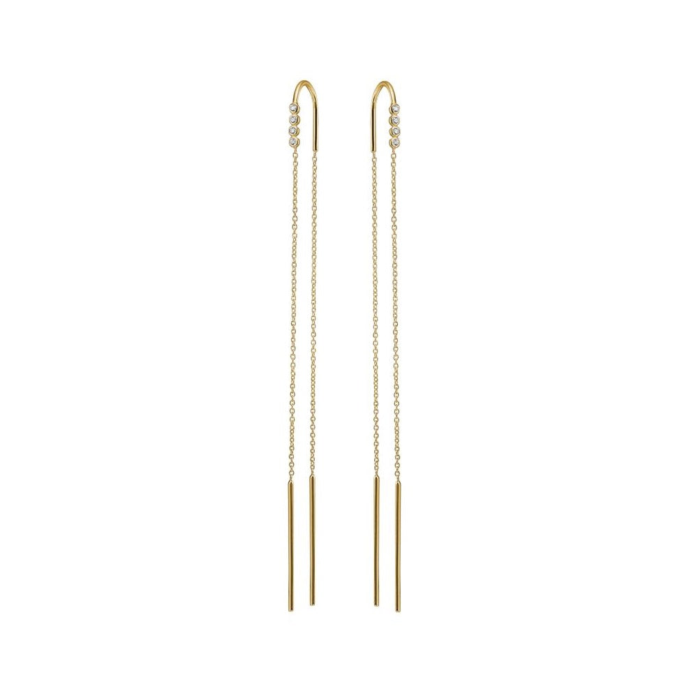 Charlotte Lebeck Edie Earrings | 925 Sterling Silver | 18K Gold Plate | Long Earrings