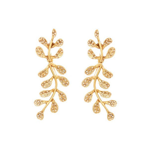 Oscar de la Renta Shadow Crystal Leave Earring | Gold Tone | Crystals | Long Earring