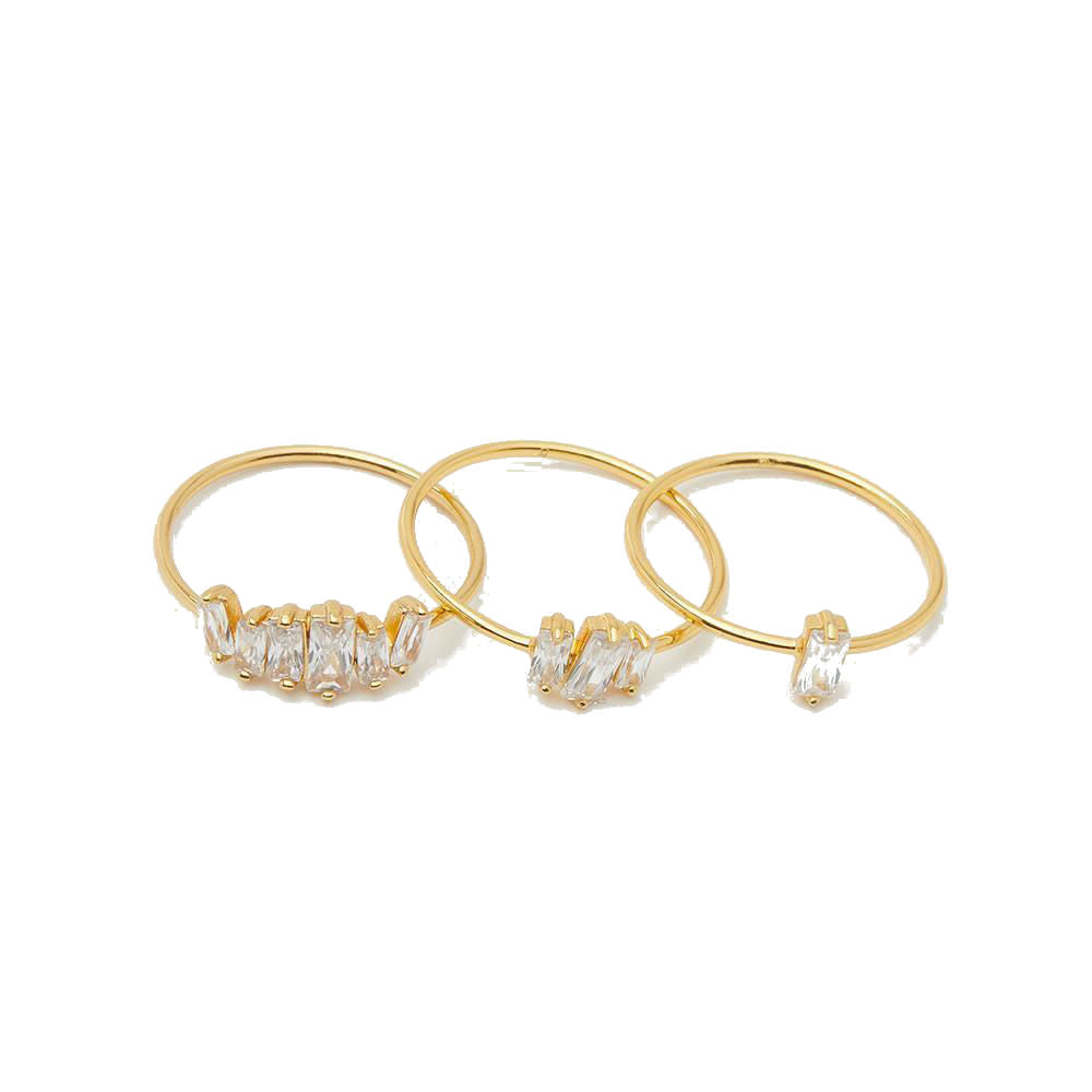 Gorjana 18k Gold Plated and Cubic Zirconia Ring Set