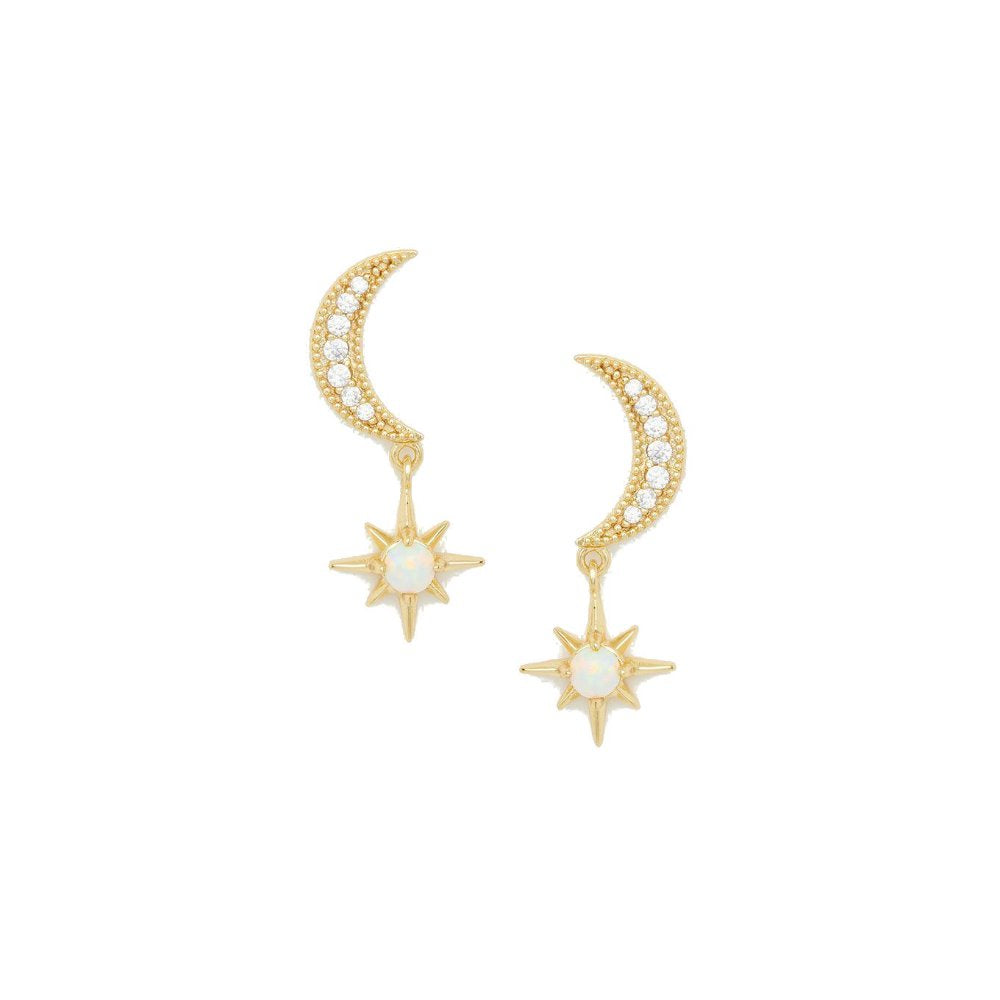 Gorjana Luna Stud Earrings | White Opalite | 18K Gold Plate