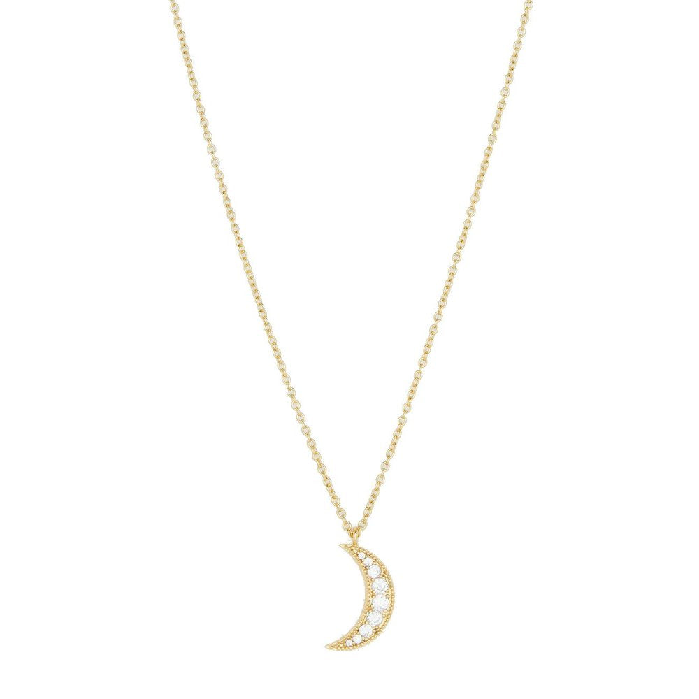 Gorjana 18k Gold Plated Luna Moon Necklace with Cubic Zirconia