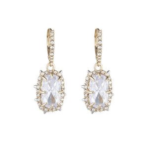 Alexis Bittar Gold Crystal Framed Earrings | Bridal Earrings | Crystals