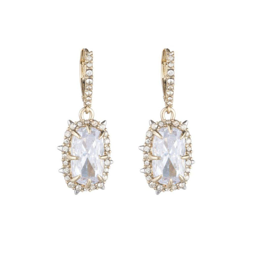 ALEXIS BITTAR GOLD CRYSTAL FRAMED EARRINGS