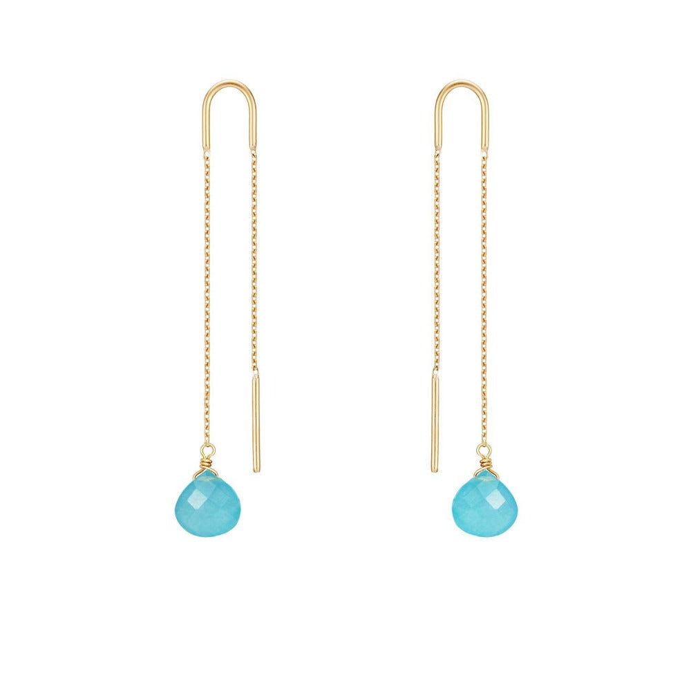 Perle de Lune Turquoise Jade Chain-Through Drop Earrings | 18K Gold | Long Earrings | Turquoise Stone