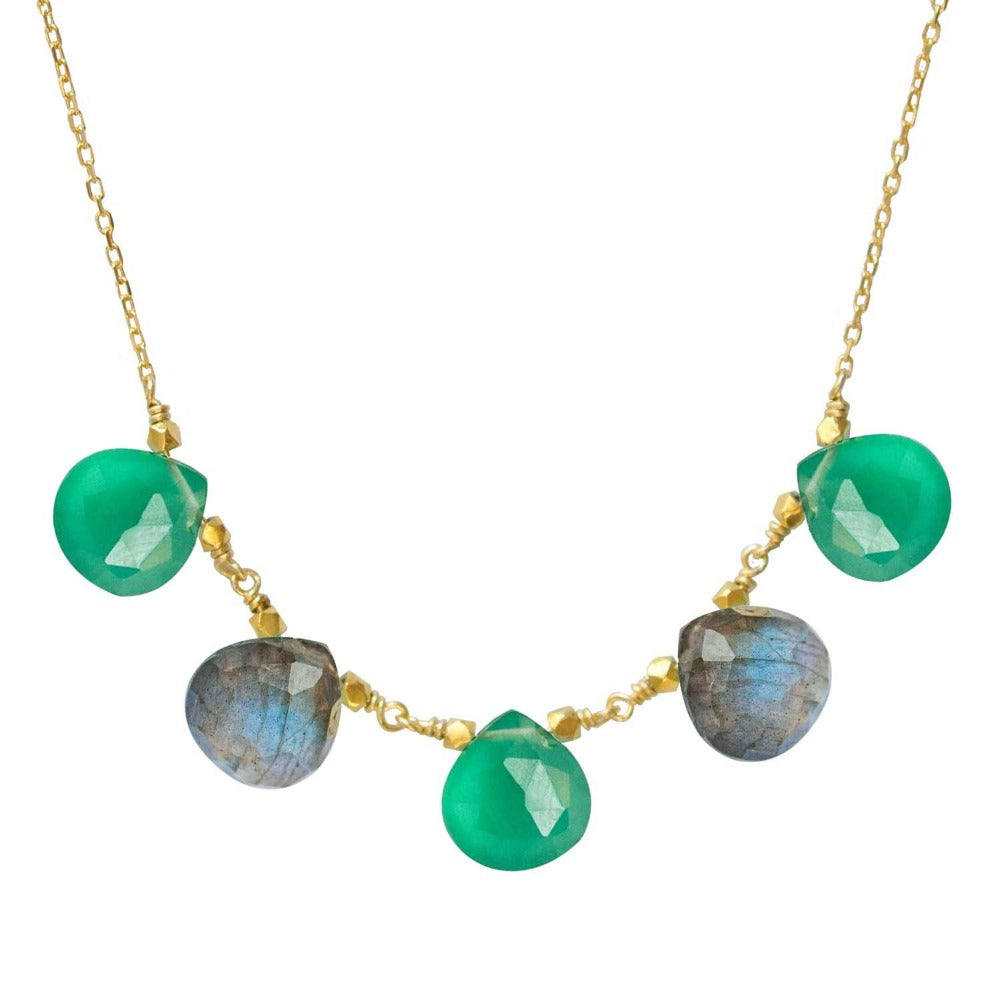 Perle de Lune Green Agate And Labradorite Long Collier Gouttes | 18K Yellow Gold