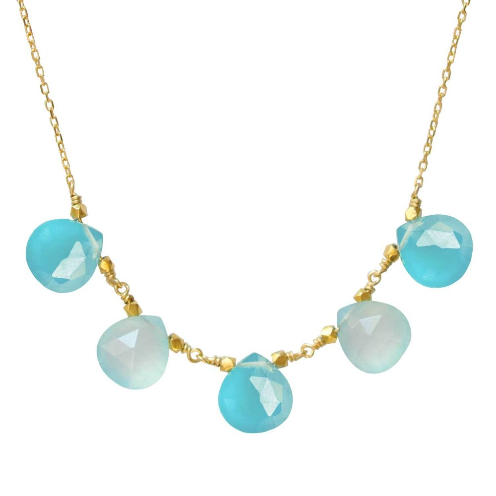 Perle de Lune Turquoise Jade Chalcedony Long Collier Gouttes | 18K Gold | Long Necklace