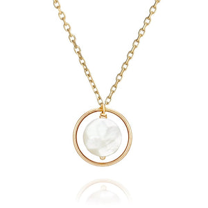 Perle de Lune Mother Of Pearl Pastille Ellipse Necklace | 18K Yellow Gold | Mother of Pearl