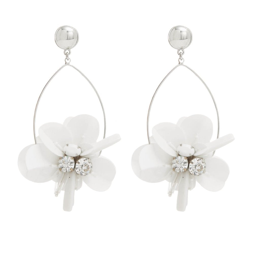 Mignonne Gavigan White Haley Swing Earrings | Crystals | Bridal Edit