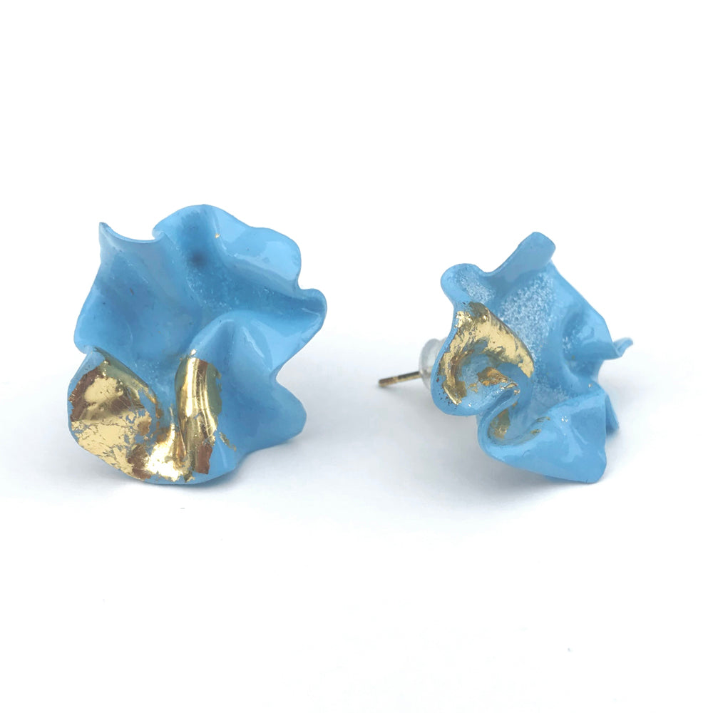 Wink Small Blue Colour Therapy Earrings | 18K Gold Plating Brass | Handcrafted Upcycled Plastic