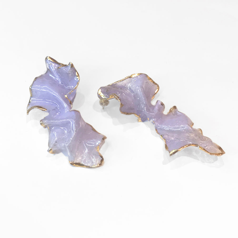 Wink Gradients Lilac Dancing Flower Earrings | 18K Gold Plating Brass | Handcrafted Upcycled Plastic