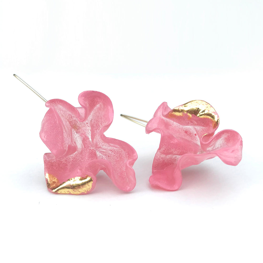 Wink Large Pink Colour Therapy Earrings | 18K Gold plating Brass | Handcrafted Upcycled Plastic