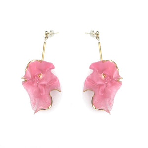 Wink Gradients Pink Hanging Petal Earrings | 18K Gold Plating Brass | Handcrafted Upcycled Plastic