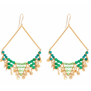 SUSAN SUELL GREENS  AGATE EARRINGS