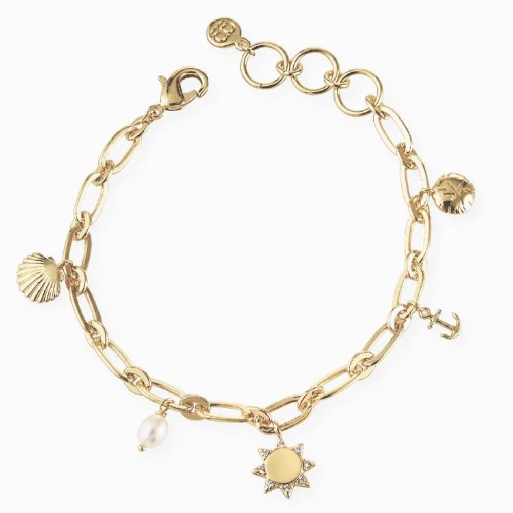 Gorjana Seashell Charm Bracelet | 18K Gold Plating Brass | Charms