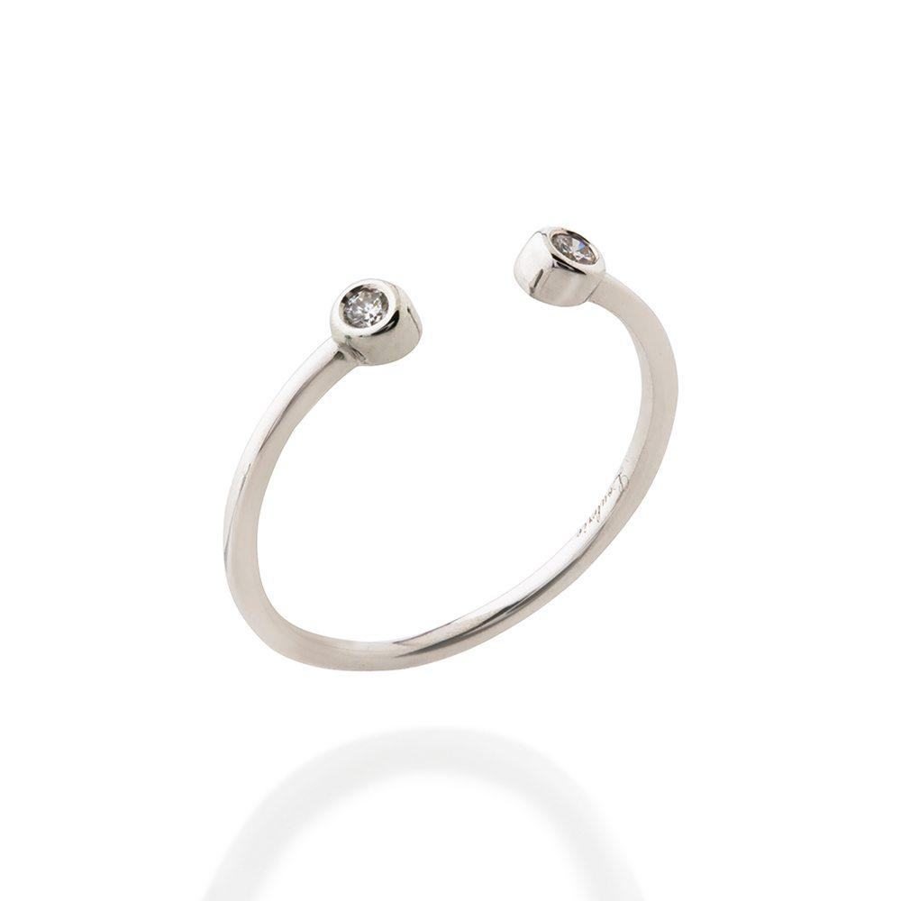 Loulerie Double Diamond Droplet White Gold Ring