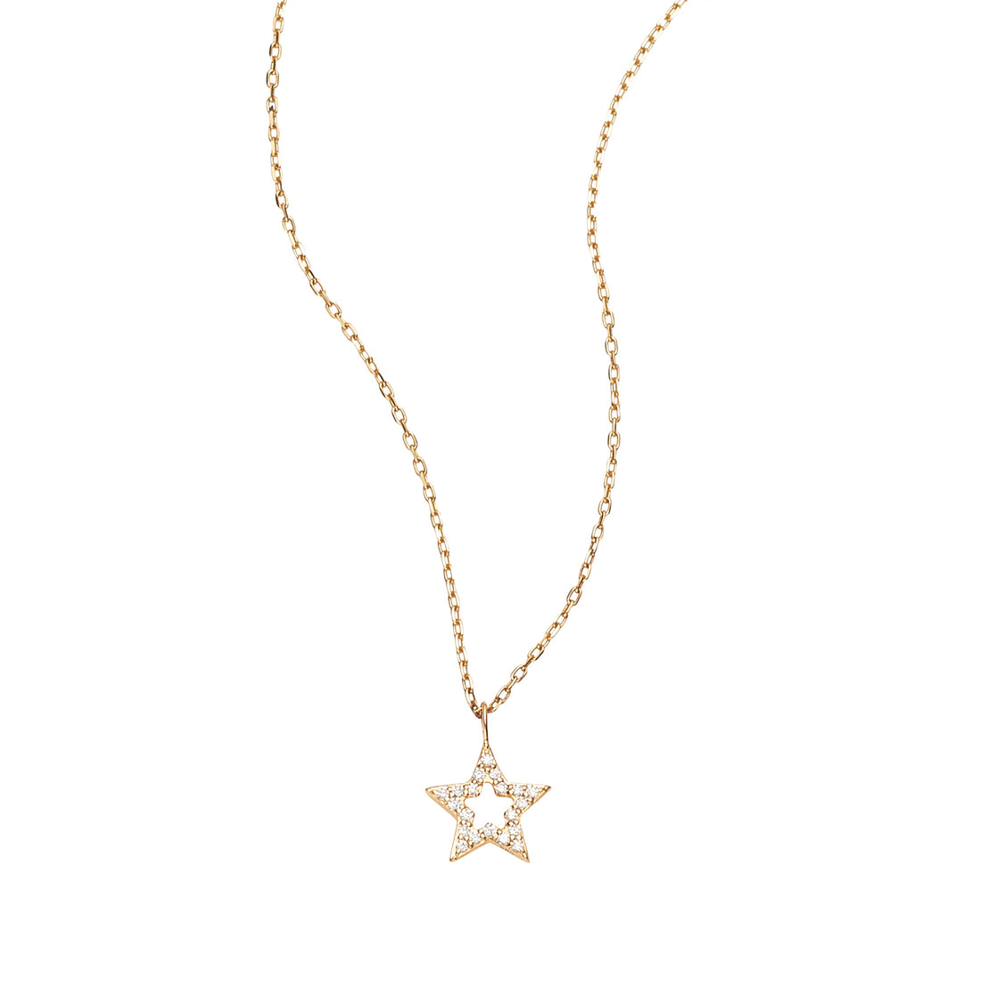 LOULERIE 8MM DIAMOND OPEN STAR NECKLACE