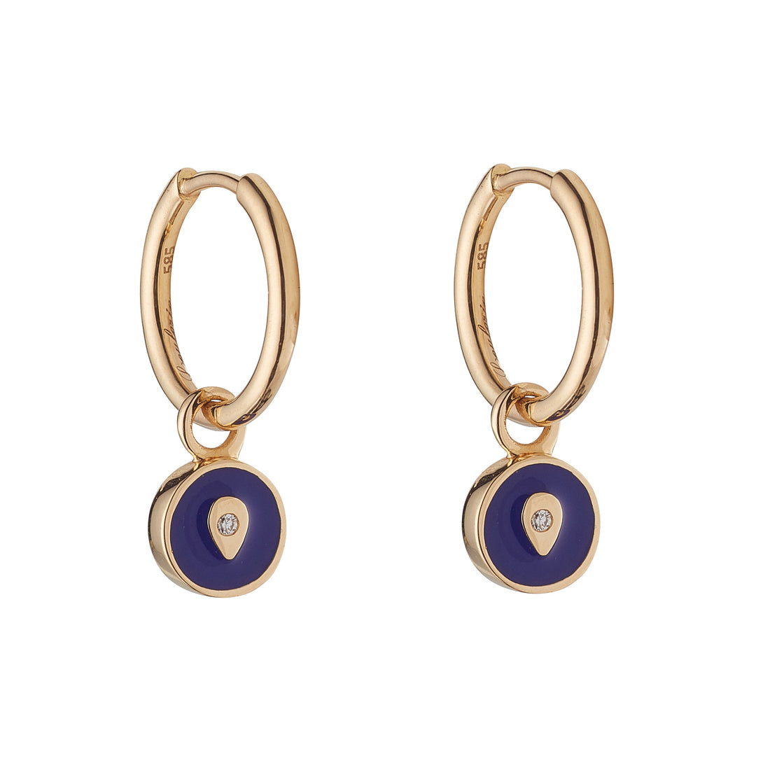 LOULERIE TEARDROP DISC NAVY EARRINGS