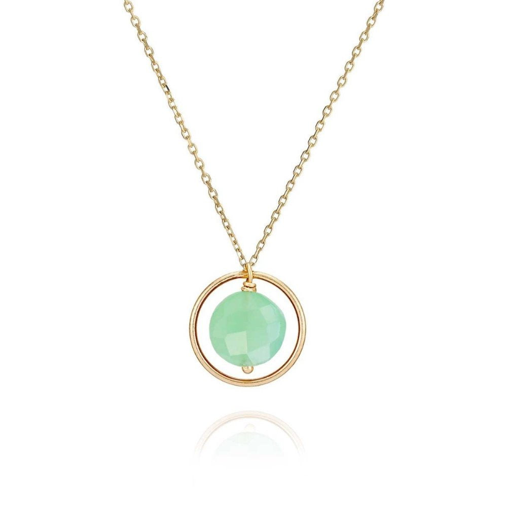 Perle de Lune Chalcedony Pastille Ellipse Necklace | 18K Yellow Gold | Green Chalcedony