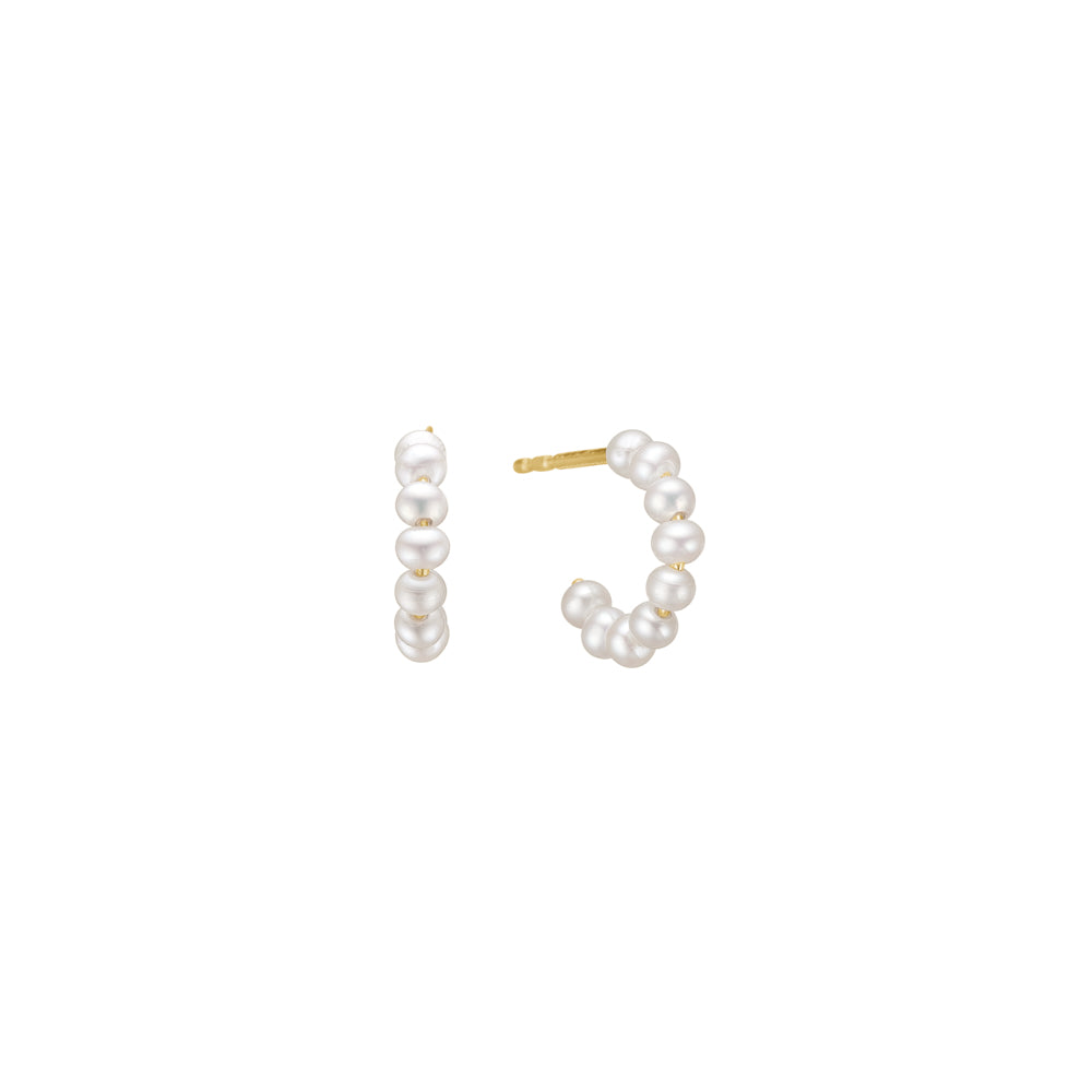 Charlotte Lebeck Libby Pearl Earring | 925 Sterling Silver | 18K Yellow Gold Plate | Fresh Water Pearls | Mini Hoops