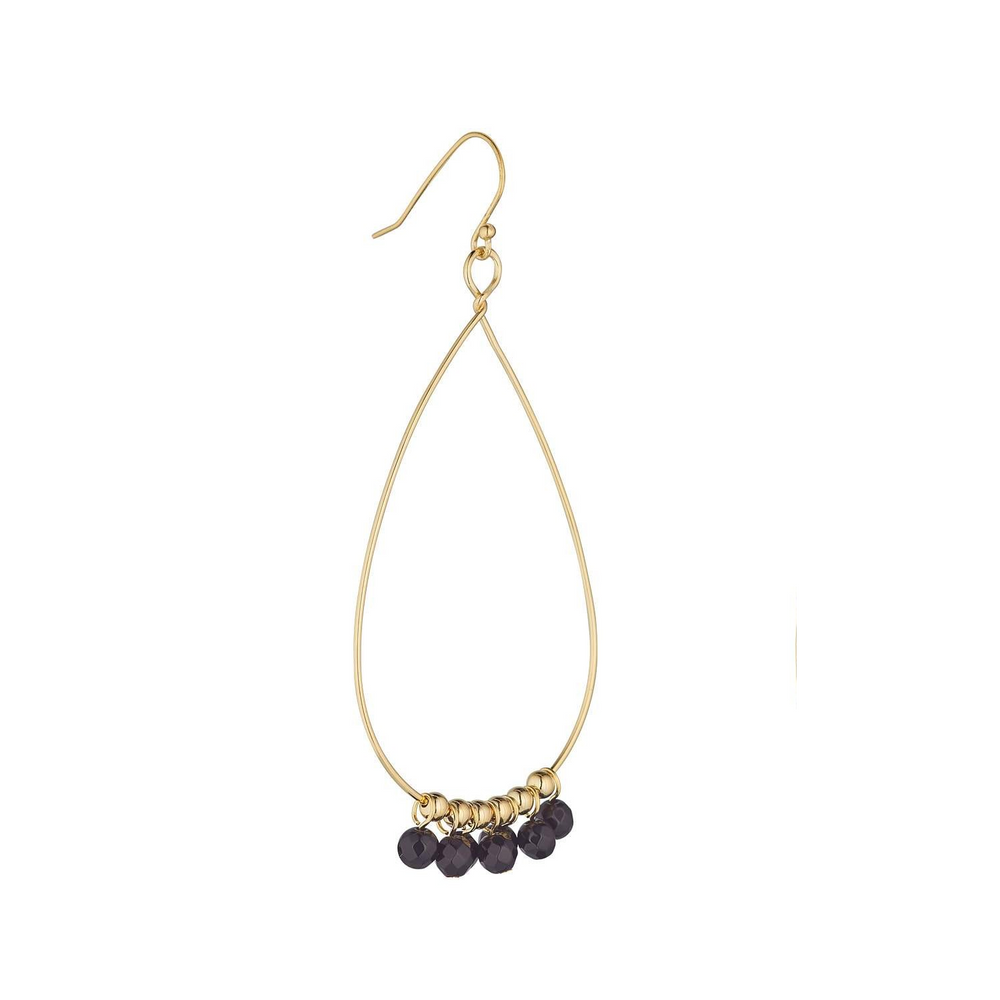 LOULERIE SINGLE BLACK GEMSTONE TEARDROP