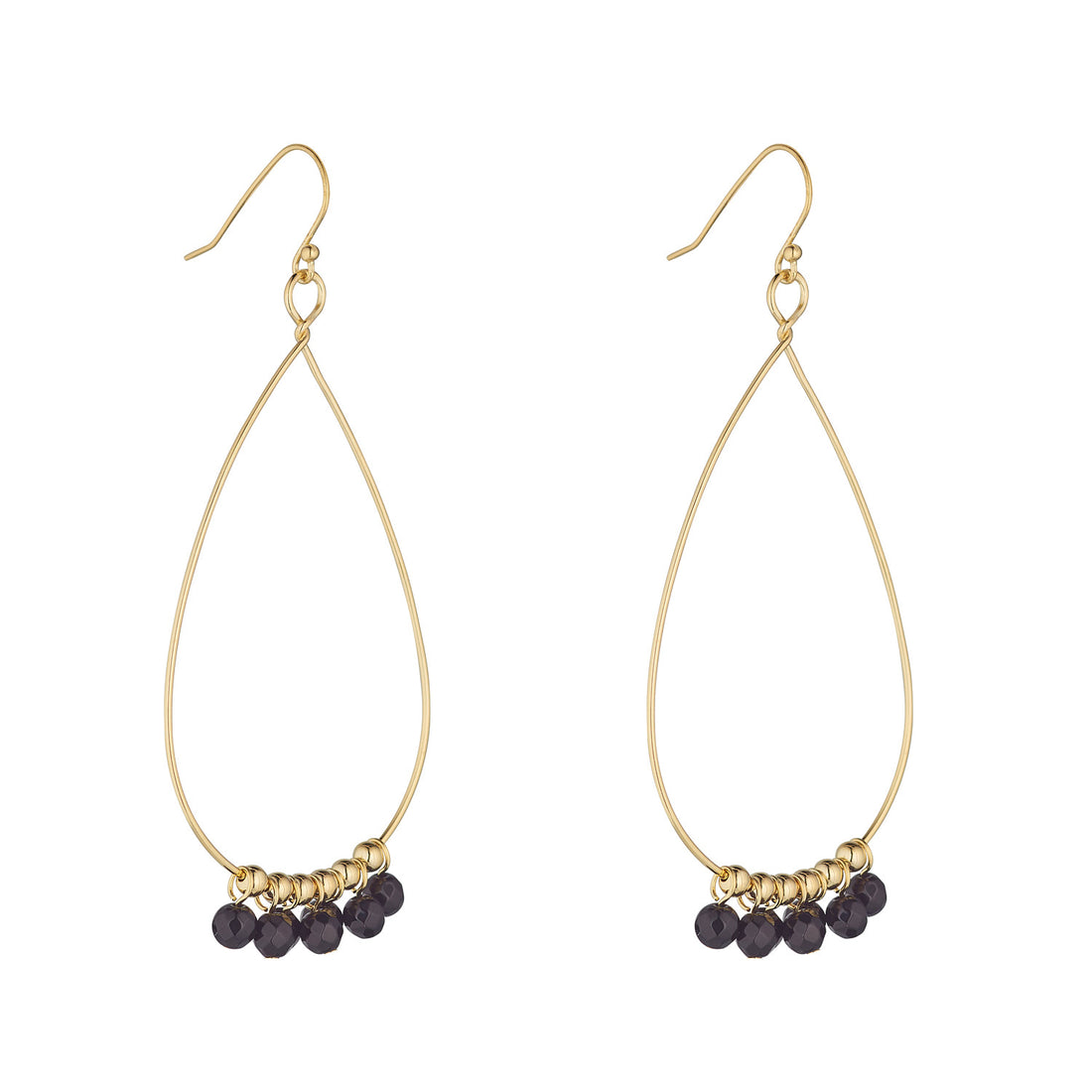 LOULERIE BLACK GEMSTONE TEARDROP EARRINGS