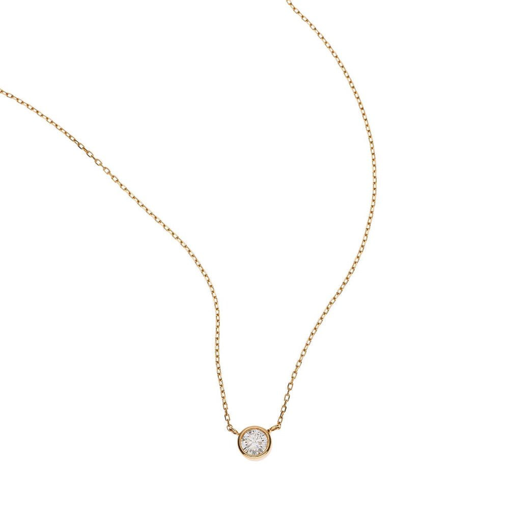 Loulerie 4mm Diamond Droplet Necklace 14k Yellow Gold