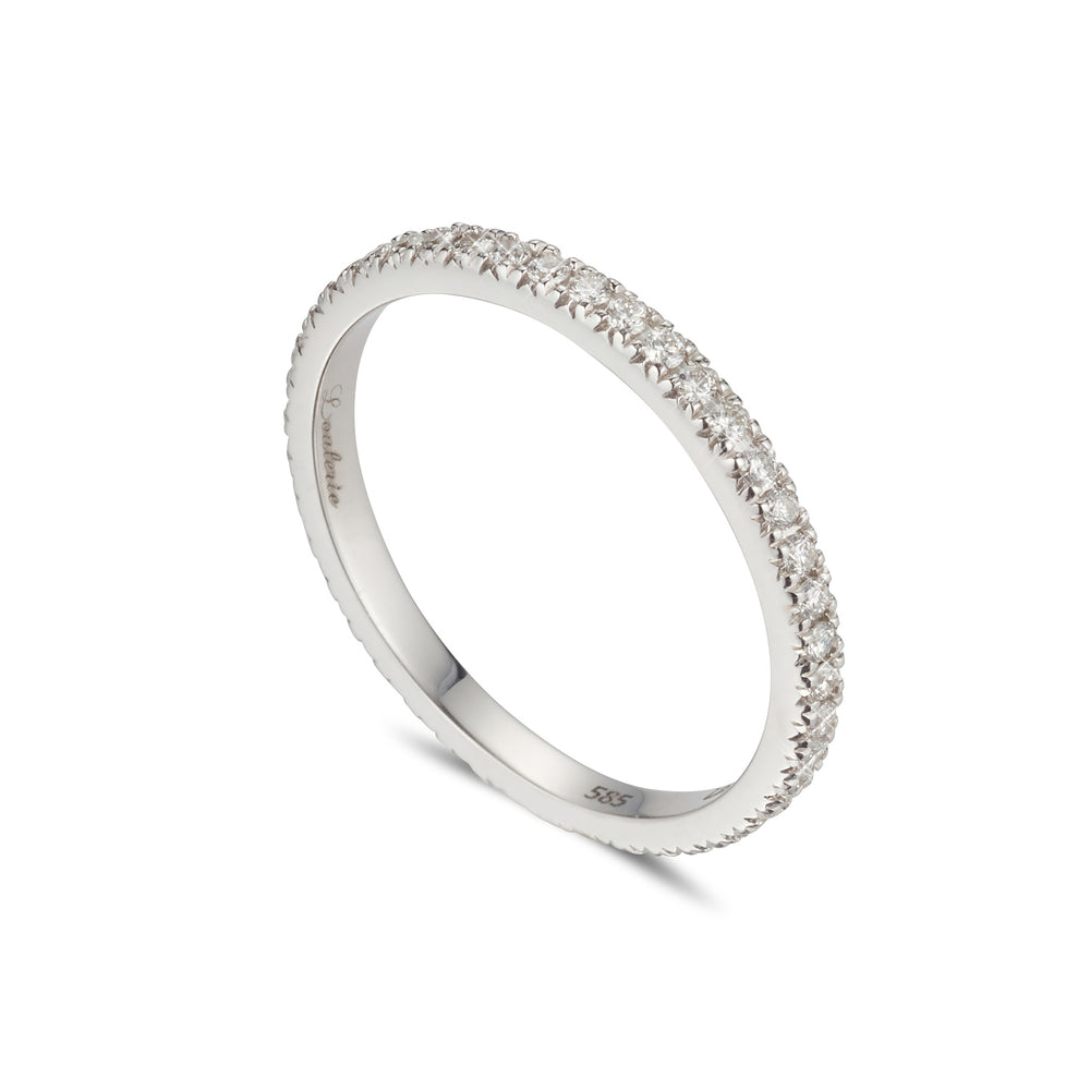 LOULERIE WHITE GOLD WHITE DIAMOND HALF ETERNITY RING