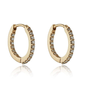 Loulerie White Diamond Mini Huggie Hoop Earring 14K Yellow Gold
