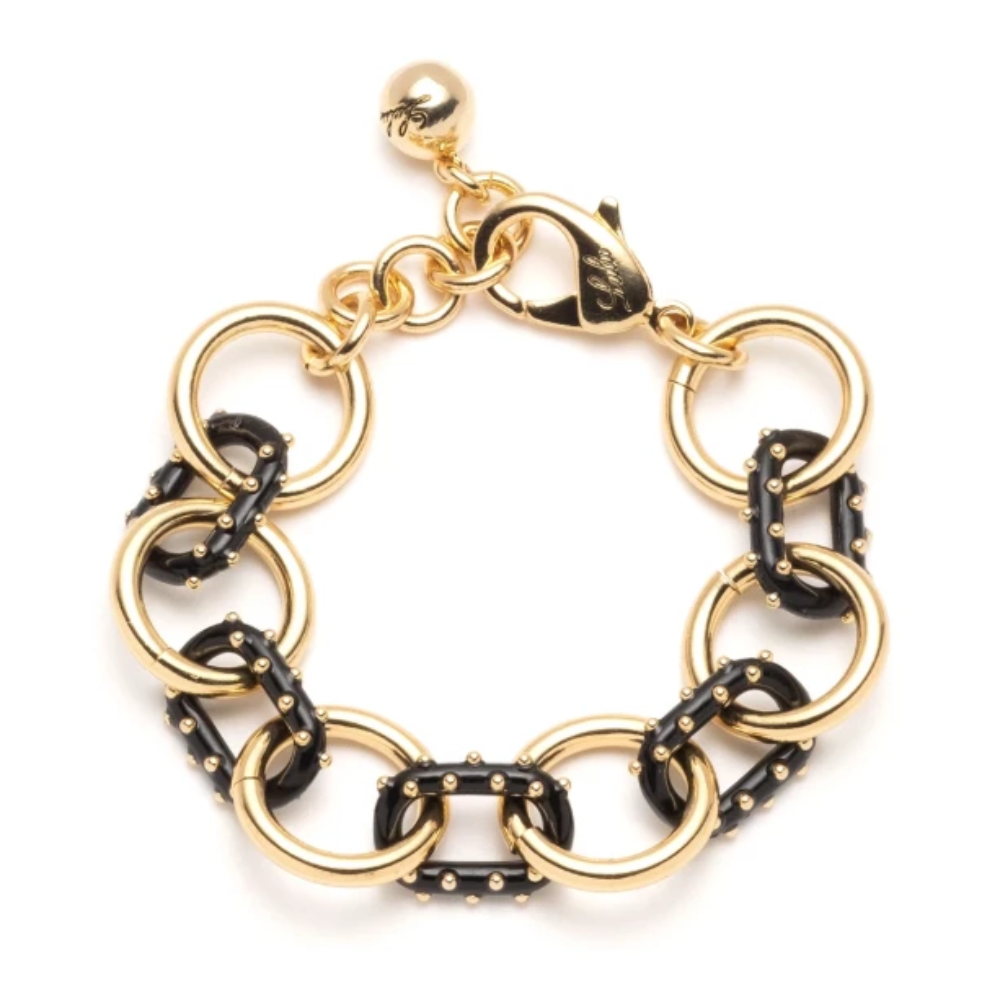 Lulu Frost Black and Golf Trafero Line Chunky Chain Bracelet